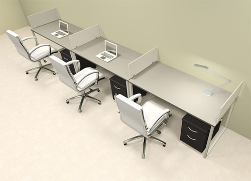 Three Person Modern Acrylic Divider Office Workstation, #AL-OPN-SP56