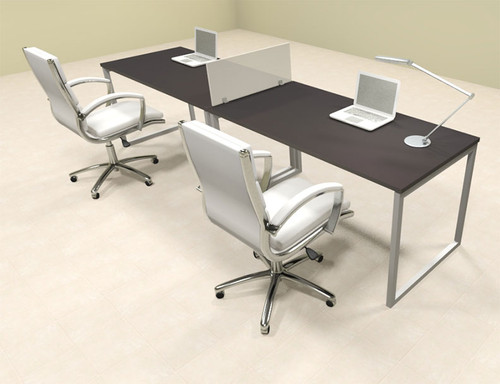 Two Person Modern Acrylic Divider Office Workstation, #AL-OPN-SP6