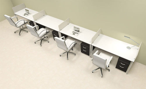 Four Person Modern Acrylic Divider Office Workstation, #AL-OPN-SP61