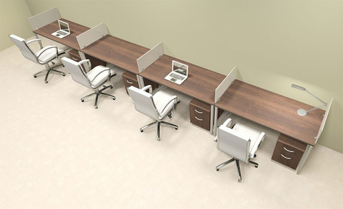 Four Person Modern Acrylic Divider Office Workstation, #AL-OPN-SP63