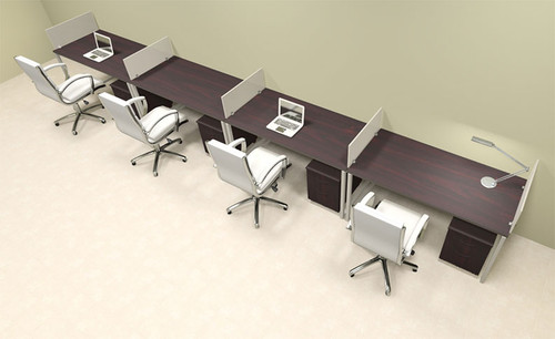 Four Person Modern Acrylic Divider Office Workstation, #AL-OPN-SP65