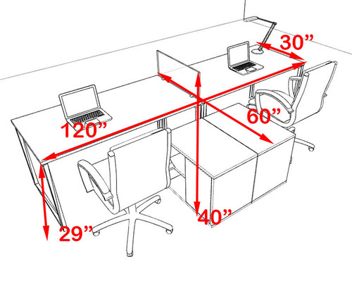 Two Person Modern Acrylic Divider Office Workstation, #AL-OPN-SP7