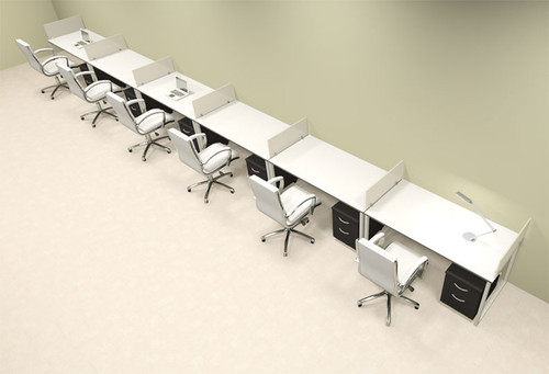 Six Person Modern Acrylic Divider Office Workstation, #AL-OPN-SP73