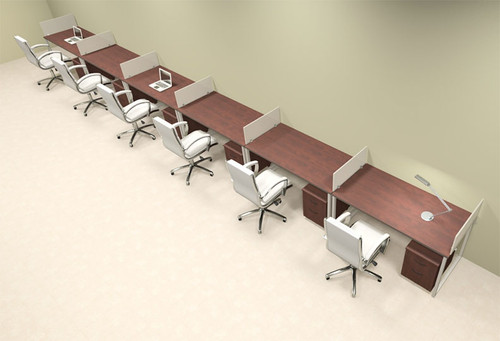 Six Person Modern Acrylic Divider Office Workstation, #AL-OPN-SP76