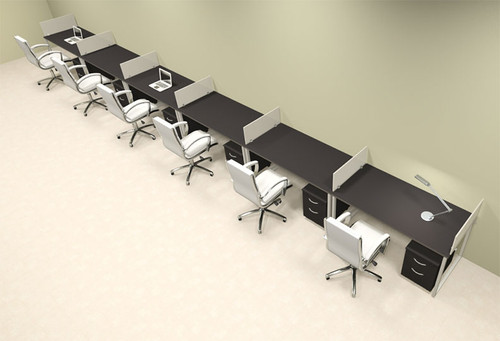 Six Person Modern Acrylic Divider Office Workstation, #AL-OPN-SP78