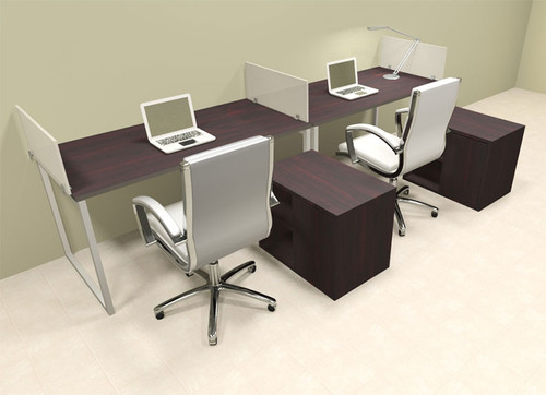 Two Person Modern Acrylic Divider Office Workstation, #AL-OPN-SP83
