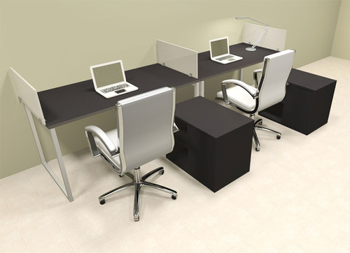 Two Person Modern Acrylic Divider Office Workstation, #AL-OPN-SP84