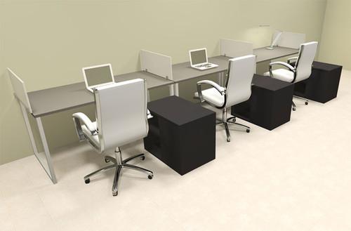 Three Person Modern Acrylic Divider Office Workstation, #AL-OPN-SP86