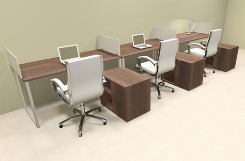 Three Person Modern Acrylic Divider Office Workstation, #AL-OPN-SP87