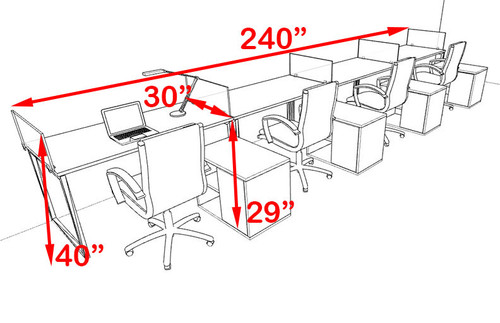 Four Person Modern Acrylic Divider Office Workstation, #AL-OPN-SP92