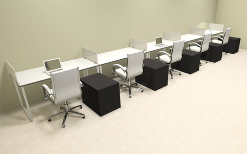 Five Person Modern Acrylic Divider Office Workstation, #AL-OPN-SP97