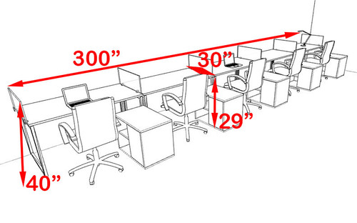 Five Person Modern Acrylic Divider Office Workstation, #AL-OPN-SP98