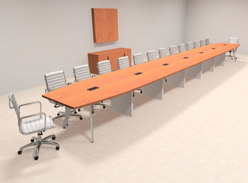 Modern Boat shaped 30' Feet Conference Table, #OF-CON-CV79