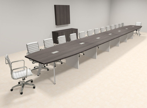 Modern Boat shaped 30' Feet Conference Table, #OF-CON-CV84