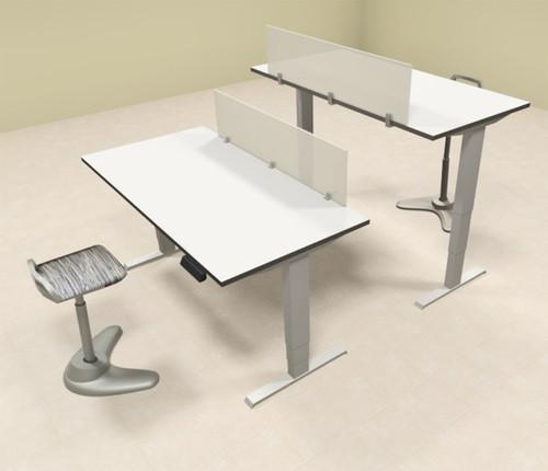 Two Persons Modern Power Adjustable Divider Workstation, #AL-OPN-HP1