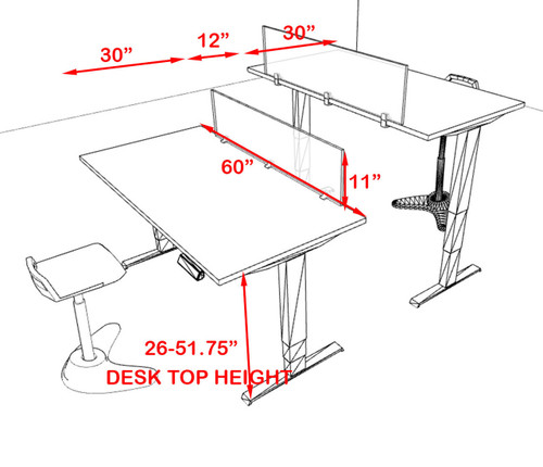 Two Persons Modern Power Adjustable Divider Workstation, #AL-OPN-HP4