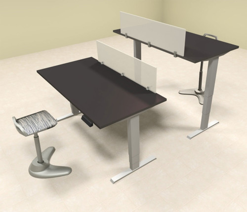 Two Persons Modern Power Adjustable Divider Workstation, #AL-OPN-HP6