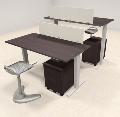 Two Persons Modern Power Adjustable Divider Workstation, #AL-OPN-HP11