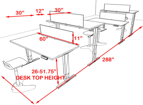 Four Persons Modern Power Adjustable Divider Workstation, #AL-OPN-HP15