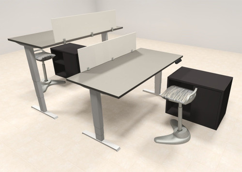 Two Persons Modern Power Adjustable Divider Workstation, #AL-OPN-HP26