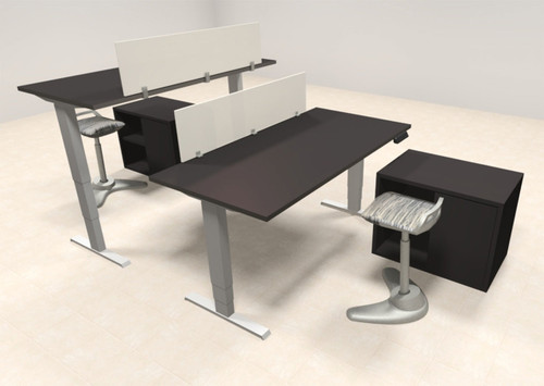 Two Persons Modern Power Adjustable Divider Workstation, #AL-OPN-HP30