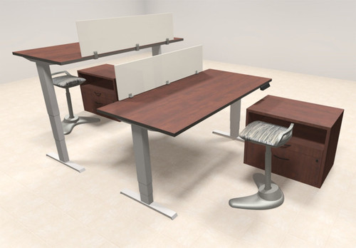 Two Persons Modern Power Adjustable Divider Workstation, #AL-OPN-HP35
