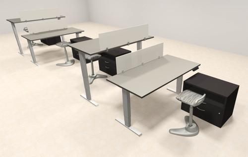 Four Persons Modern Power Adjustable Divider Workstation, #AL-OPN-HP44
