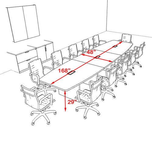 Modern Boat Shapedd 14' Feet Conference Table, #OF-CON-C135