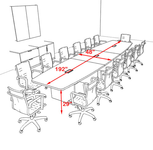 Modern Boat Shapedd 16' Feet Conference Table, #OF-CON-C136