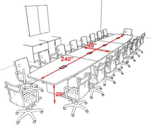Modern Boat Shapedd 20' Feet Conference Table, #OF-CON-C138