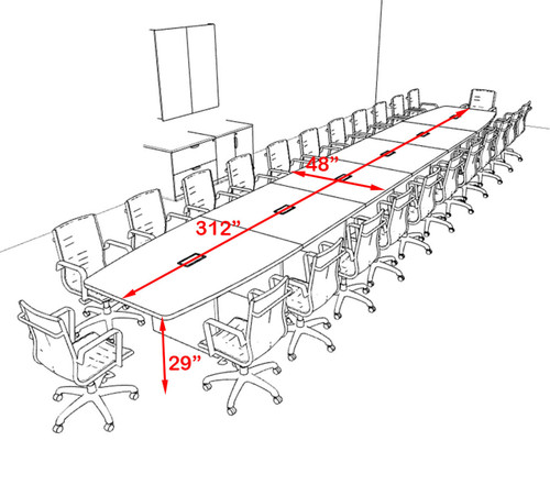 Modern Boat Shapedd 26' Feet Conference Table, #OF-CON-C141