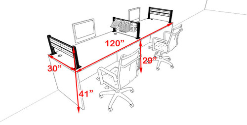 Two Person Modern Aluminum Organizer Divider Office Workstation, #OT-SUL-SPW4