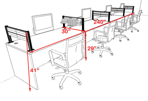 Four Person Modern Aluminum Organizer Divider Office Workstation, #OT-SUL-SPW9