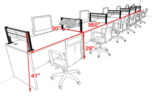 Six Person Modern Aluminum Organizer Divider Office Workstation, #OT-SUL-SPW20