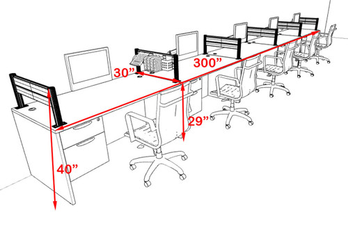 Five Person Modern Aluminum Organizer Divider Office Workstation, #OT-SUL-SPW34
