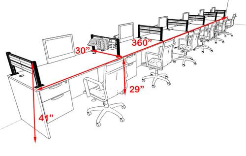 Six Person Modern Aluminum Organizer Divider Office Workstation, #OT-SUL-SPW37
