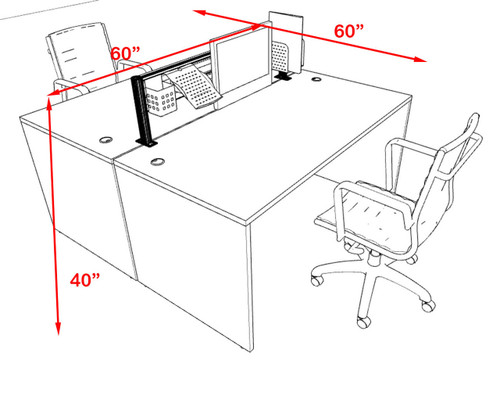 Two Person Modern Aluminum Organizer Divider Office Workstation, #OT-SUL-FPW2