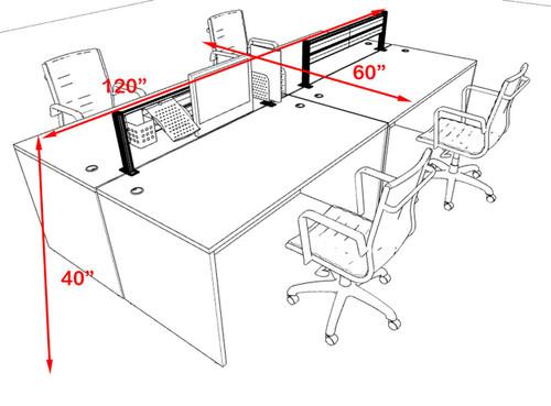 Four Person Modern Aluminum Organizer Divider Office Workstation, #OT-SUL-FPW6