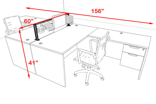 Two Person Modern Aluminum Organizer Divider Office Workstation, #OT-SUL-FPW38