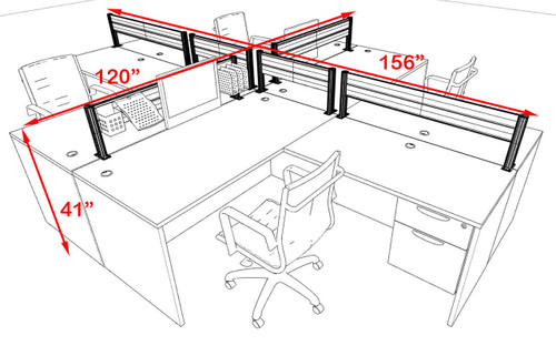 Four Person Modern Aluminum Organizer Divider Office Workstation, #OT-SUL-FPW43
