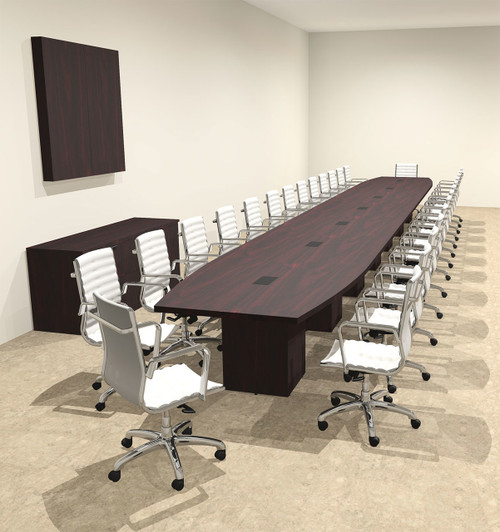 Modern Boat Shaped Cube Leg Feet Conference Table OFCONCQ - 15 foot conference table