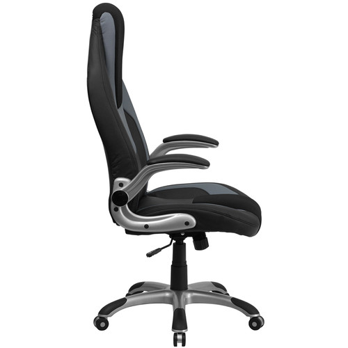 High Back Black & Gray Vinyl Executive Office Chair with Black Mesh Insets and Flip Up Arms , #FF-0272-14
