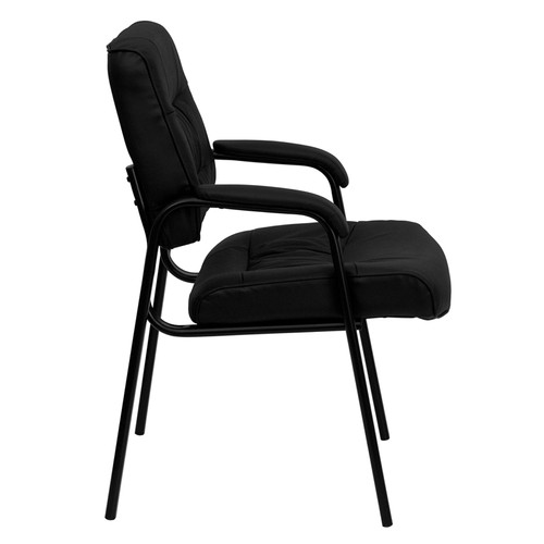 Black Leather Guest / Reception Chair with Black Frame Finish , #FF-0442-14