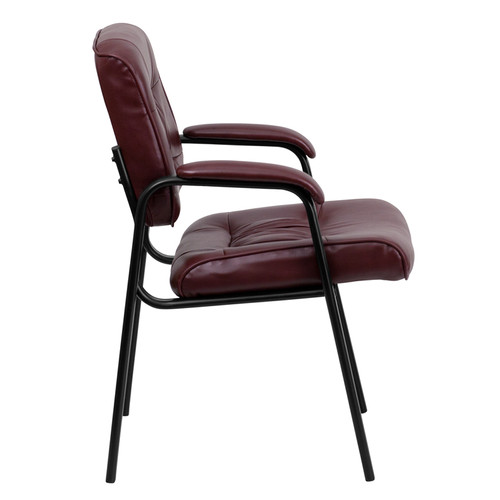 Burgundy Leather Guest / Reception Chair with Black Frame Finish , #FF-0444-14