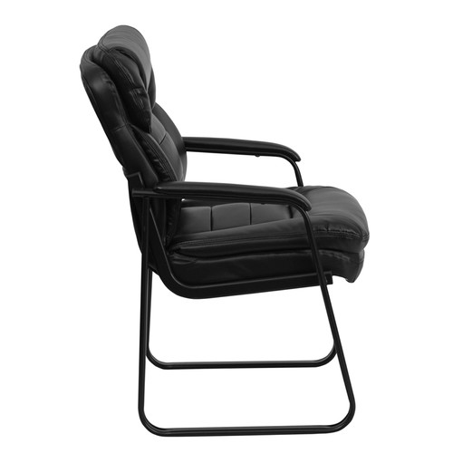 Black Leather Executive Side Chair with Sled Base , #FF-0448-14