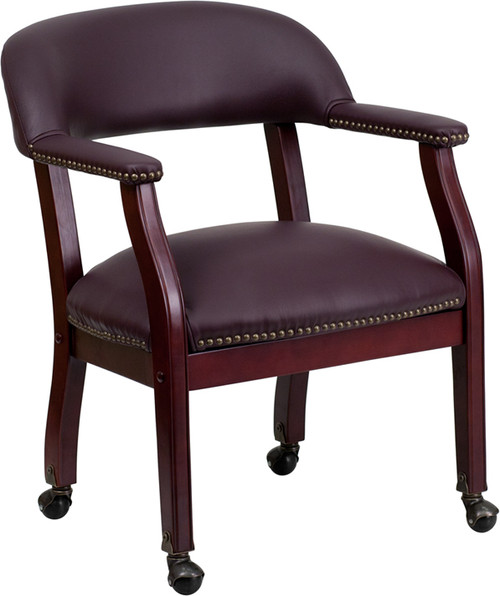 Burgundy Leather Conference Chair with Casters , #FF-0457-14