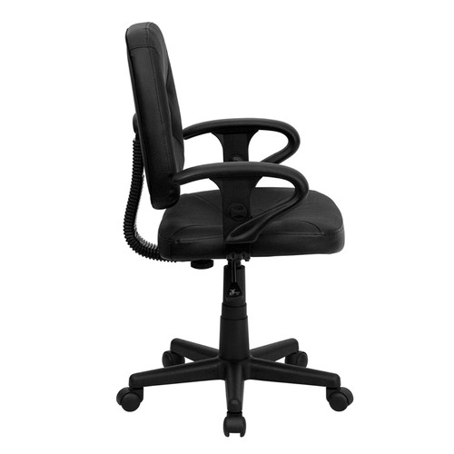 Mid-Back Black Leather Ergonomic Task Chair with Arms , #FF-0321-14