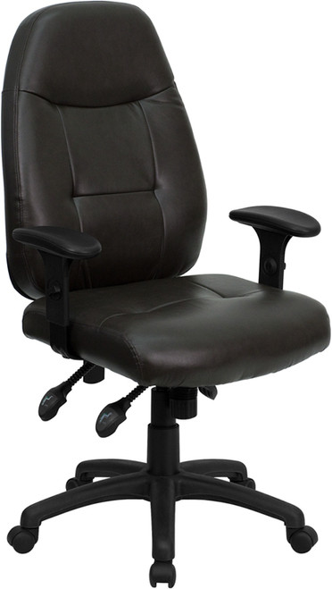 High Back Espresso Brown Leather Executive Office Chair , #FF-0332-14