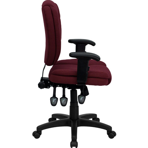 Mid-Back Burgundy Fabric Multi-Functional Ergonomic Task Chair with Arms , #FF-0339-14