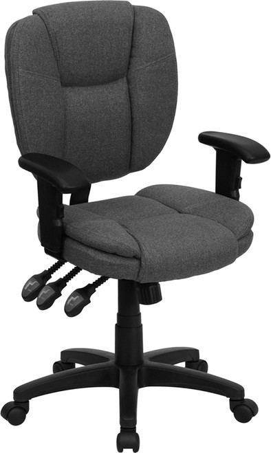 Mid-Back Gray Fabric Multi-Functional Ergonomic Task Chair with Arms , #FF-0341-14